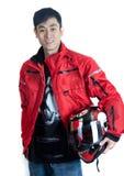 Jinete asiático de la motocicleta de la cadera Fotos de archivo