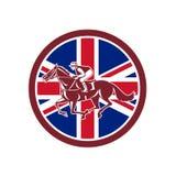 Jinete británico Horse Racing Union Jack Flag stock de ilustración