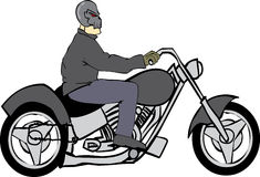 Jinete de la bici con el casco del cráneo Imagen de archivo libre de regalías
