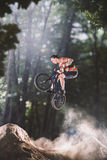 Jinete de la bici de Bmx en el bosque Imagenes de archivo