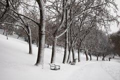 Jinete de la bici del invierno Fotos de archivo libres de regalías