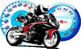 Jinete de la moto, silueta abstracta del vector El competir con de la motocicleta del camino stock de ilustración