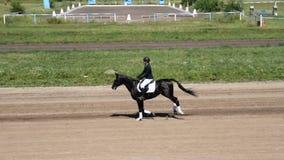 Jinete de la mujer que monta el caballo negro en hipódromo almacen de metraje de vídeo
