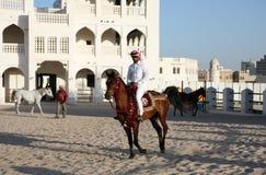 Jinete del caballo en Doha, Qatar Foto de archivo