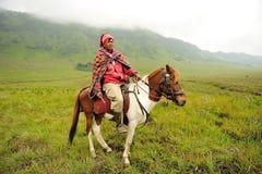 Jinete del caballo en el soporte Bromo Fotos de archivo libres de regalías