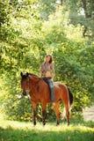 Jinete del caballo en un rastro foto de archivo