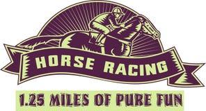 Jinete del caballo que compite con 1.25 millas Foto de archivo libre de regalías