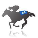 Jinete del caballo que se ejecuta en la raza Foto de archivo libre de regalías