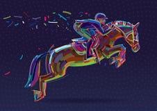 Jinete del deporte ecuestre en la demostración de salto Imagenes de archivo