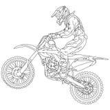 Jinete del motocrós de las siluetas en una motocicleta Fotos de archivo libres de regalías