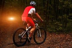 Jinete en la acción en la sesión de la bici de montaña del estilo libre Fotografía de archivo libre de regalías