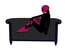 Jinete femenino de la motocicleta en una silueta del sofá Foto de archivo