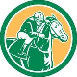 Jinete Horse Racing Circle retro stock de ilustración