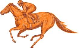 Jinete Horse Racing Drawing ilustración del vector