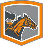 Jinete Horse Racing Shield retro ilustración del vector