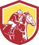 Jinete Horse Racing Shield retro libre illustration