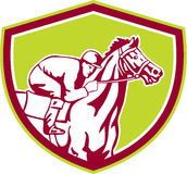 Jinete Horse Racing Shield retro stock de ilustración
