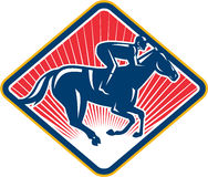 Jinete Horse Racing Side retro libre illustration