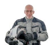 Jinete mayor con el casco blanco aislado en el fondo blanco foto de archivo libre de regalías