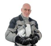 Jinete mayor con el casco blanco aislado en el fondo blanco imágenes de archivo libres de regalías