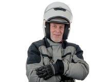 Jinete mayor con el casco blanco aislado en el fondo blanco imagenes de archivo