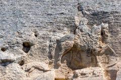 Jinete medieval de Madara del alivio de la roca a partir del período de primer imperio búlgaro, lista del patrimonio mundial de l imagenes de archivo