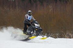 Jinete rápido de la moto de nieve Imagen de archivo libre de regalías