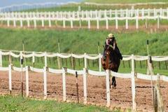 Jinete Train Sand Track del caballo de raza Imágenes de archivo libres de regalías