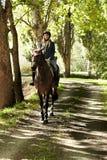 Jinete y caballo en el bosque Foto de archivo