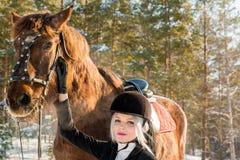Jinete y caballo hermosos jovenes de la muchacha en bosque del invierno Fotografía de archivo