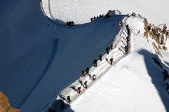 Jinetes cerca de Mont Blanc Imágenes de archivo libres de regalías