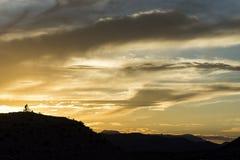 Jinetes de la puesta del sol del desierto Foto de archivo libre de regalías