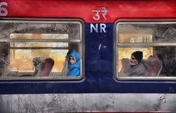 Jinetes de tren Fotografía de archivo