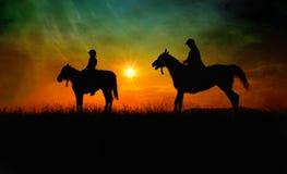 Jinetes del caballo de la bella arte Foto de archivo libre de regalías
