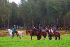 Jinetes del caballo en Borodino Foto de archivo