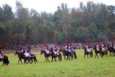Jinetes del caballo en Borodino Fotos de archivo