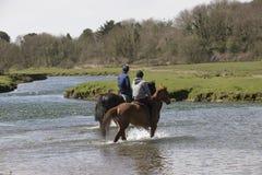Jinetes del caballo que cruzan un río Fotografía de archivo