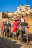 Jinetes del elefante en Amber Fort cerca de Jaipur, la India Fotografía de archivo