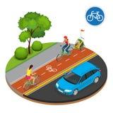 Jinetes isométricos de la señal de tráfico y de la bici de la bicicleta Imagen de archivo