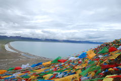 Jing fan of the lake. Tibet Damxung County, Nam Co Lake flags Stock Image
