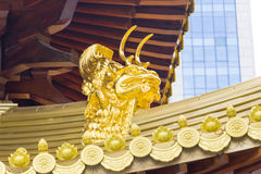Jing An Golden Dragon Detail Stock Photo