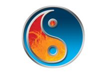 Jing Jang symbol isolated. Symbol of balance from japan or china with fire and ice Royalty Free Stock Image