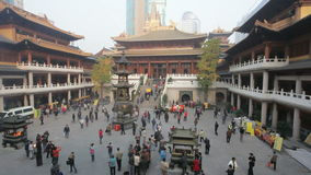 Jing'an temple in Shanghai, China stock video footage