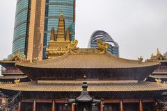 Jing an Temple the temple in the shanghai city stock photography