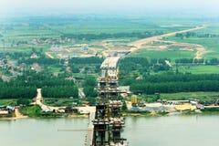 Jing Yue Yangtze River Bridge. Is still under construction in the Yangtze River Bridge Jing Yue Stock Photography