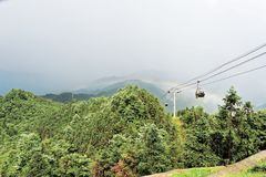 Rainbow cableway-Azalea Mountain-Jinggang Mountains. Jinggangshan is located in Ji`an City, Jiangxi Province, is located in the eastern border, Nanling North Stock Images