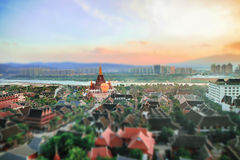 Jinghong City, Xishuangbanna Advertisement village west double Aerial View Stock Images