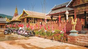 Thai Food Restaurant in South-East China. Jinghong town, Yunnan province, China-March 15, 2018: The restaurant building is designed to reassemble Thai and royalty free stock image