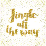 Jingle all the Way Christmas carol inspirational quote. Elegant Ink hand lettering isolated on white background. Jingle all the Way Christmas carol inspirational vector illustration