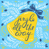 Jingle all the way lettering with bell Royalty Free Stock Photography